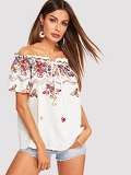 Off Shoulder Frill Trim Flower Embroidered Top