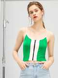 Neon Lime O-Ring Zip Up Crop Cami Top