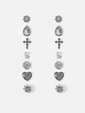 Cross & Heart Stud Earrings 7pairs