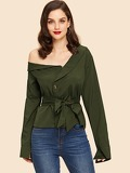 Asymmetrical Neck Self Tie Waist Blouse