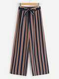 Tie Waist Colorful Striped Wide Leg Pants