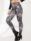 Graphic Print Wide Waistband Leggings