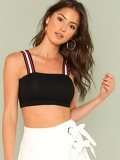 Striped Strap Crop Top