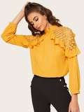 Ruffle Trim Lace Panel Blouse