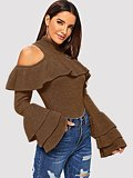 Tiered Ruffle Sleeve Slim Fitted Sweater