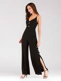 Button Detail Lace-up Back Split Hem Cami Jumpsuit
