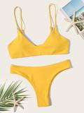 V Plunge Top With Hipster Bikini Set