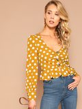 Ruched Button Placket Polka Dot Peplum Blouse