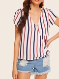 Striped V-neck Surplice Blouse