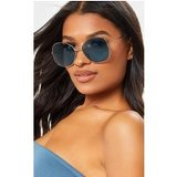 Blue Oversized Square Lens Gold Metal Frame Sunglasses