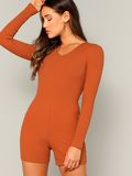 Zipper Back Rib-knit Skinny Romper