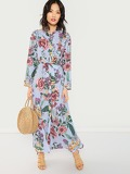 Button Front Belted Striped Floral Dress