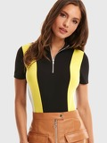 Colour Block Zipper Front Bodysuit