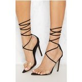 Black Clear Strap Point Toe Barely There Sandal