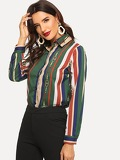 Colorful Striped Single Breasted Blouse
