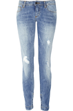Distressed cropped low-rise skinny jeans