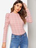Puff Sleeve Grid Slim Top