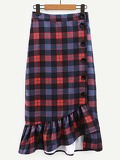 Asymmetric Ruffle Hem Buttoned Plaid Pencil Skirt