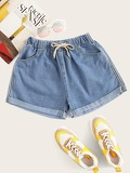 Rolled Hem Drawstring Waist Denim Shorts