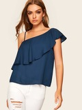 Ruffle Trim One Shoulder Solid Blouse