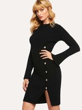 Split Cuff Button Front Rib Knit Sweater Dress