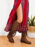 Tassel Detail Knee High Boots