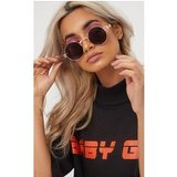 Black Rounded Metal Frame Retro Sunglasses