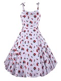 50s Cherry Print Knot Detail Dress