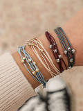 Multi-layered String Bracelet Set 4pcs