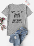 Letter And Cat Print Tee
