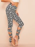 Wide Waist Crisscross Knot Hem Greek Fret Leggings