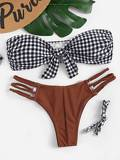 Gingham Knot Front Bandeau With Braided Detail Bikini