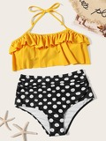 Polka Dot Ruffle Halter Top With High Waist Bikini