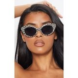 White Leopard Cat Eye Statement Sunglasses