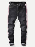 Men Tape Detail Ripped Jeans