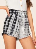 Tassel Detail Shirred Waist Tie Dye Shorts