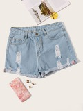 Frayed Hem Faded Ripped Denim Shorts
