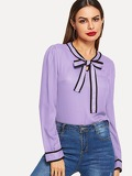Contrast Binding Tied Neck Blouse