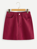 Dual Pocket Solid Denim Skirt