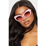Pink Retro Chunky Cat Eye Frame Sunglasses