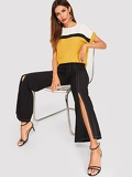 Rolled Cuff Curved Hem Colorblock Top