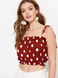 Polka-dot Frilled Trim Crop Cami Top
