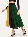 Paper Bag Waist Color-block Pleated Skirt