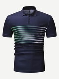 Men Striped Panel Polo Shirt