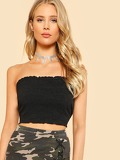 Lettuce Edge Ribbed Bandeau Top