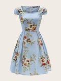 50s Zip Back Boxy Pleated Detail Floral Dress