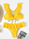 Neon Yellow Tie Back Top With Flounce Bikini
