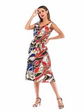 Spliced Chain Print Self Tie Dress