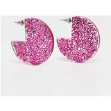 Pink Glitter Resin Disc Earrings