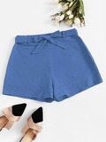 Self Tie Solid Shorts